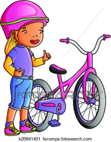 368x470 Clipart Of Cartoon Cute Little Girl With Bicycle K20941401