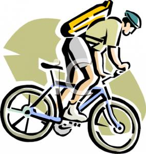 285x300 Colorful Cartoon Of A Man Riding A Bicycle