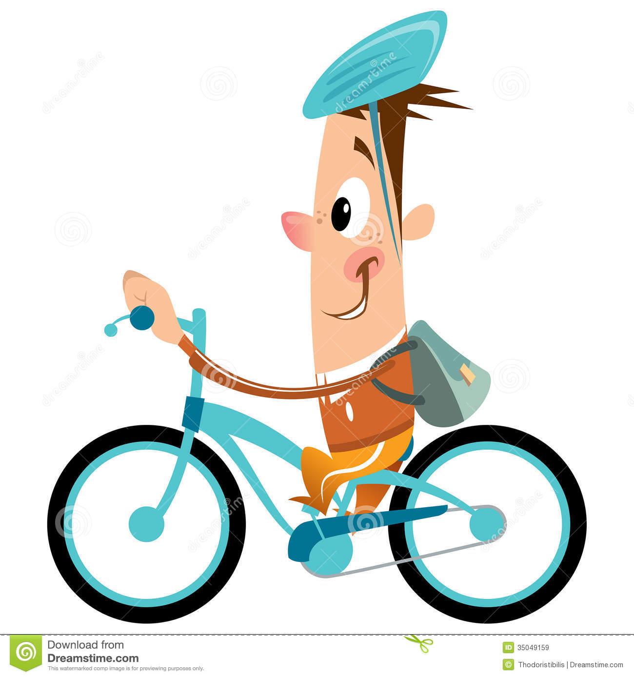 1300x1390 Cartoon Boy Backpack Helmet Riding Turquoise Bike Smili Funny
