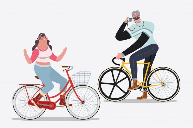 626x417 Cartoon Character Design Illustration. Men Riding Bikes Taking