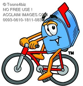 289x300 Illustration Of A Mail Box Cartoon Character Riding A Bike