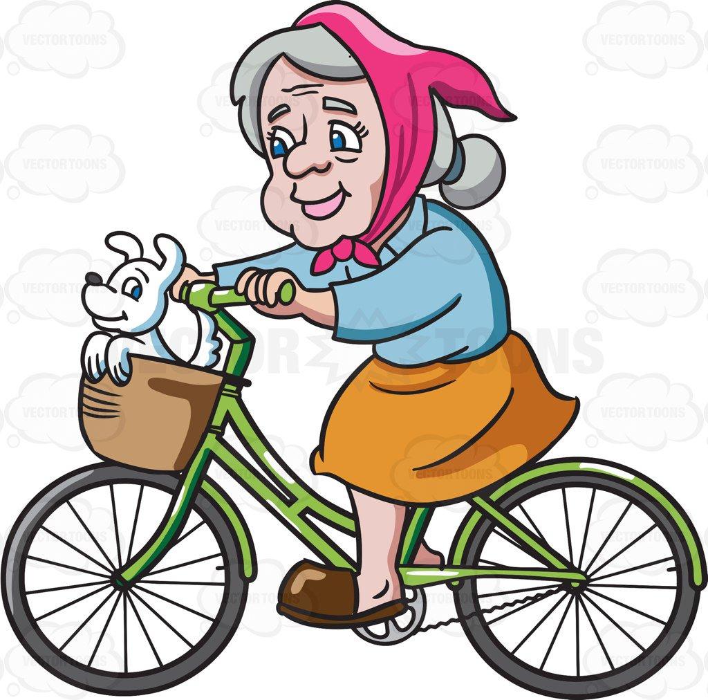 1024x1012 A Female Senior Citizen Enjoying A Bike Ride With Her Dog Cartoon