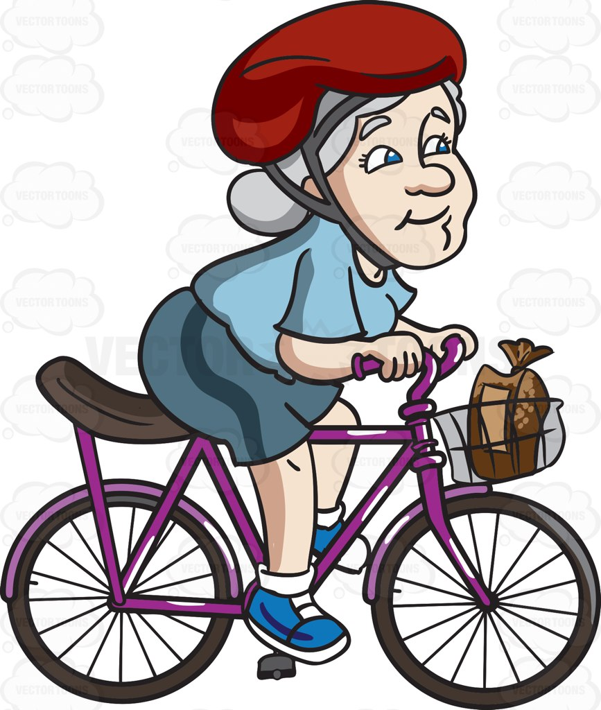 867x1024 A Female Senior Citizen Riding A Bike To Buy Some Bread` Cartoon