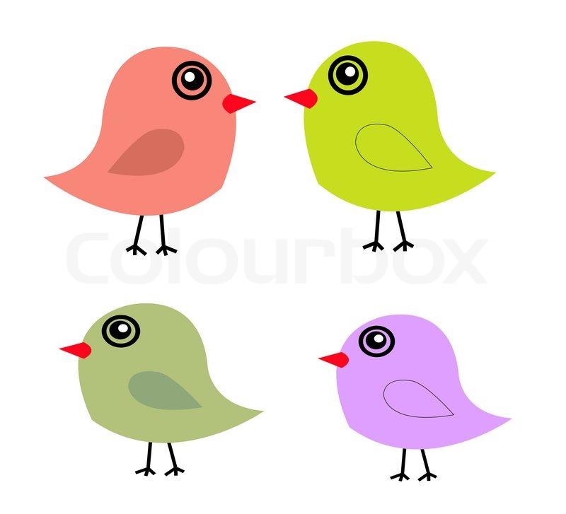 800x727 Cute Birds In Vector. Cartoon Stock Vector Colourbox