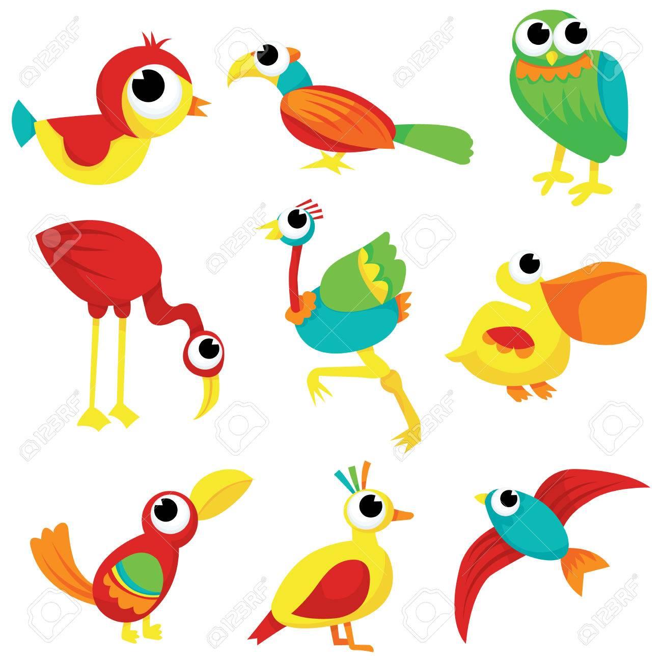 1300x1300 A Flock Of Different Cartoon Birds Vector Stock Illustration