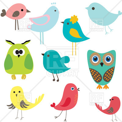 400x400 Stylized Cute Cartoon Birds Royalty Free Vector Clip Art Image