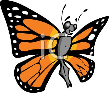 350x299 Cartoon Monarch Butterfly