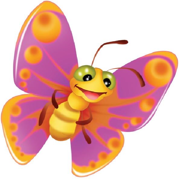 600x600 Cute Butterfly Cartoon Clip Art Images On A Transparent Background