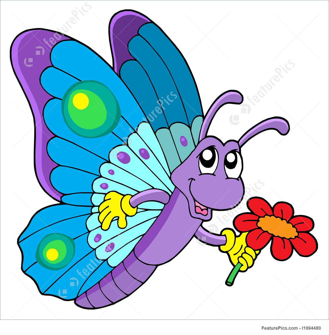 1300x1322 Cute Butterfly Holding Flower Illustration