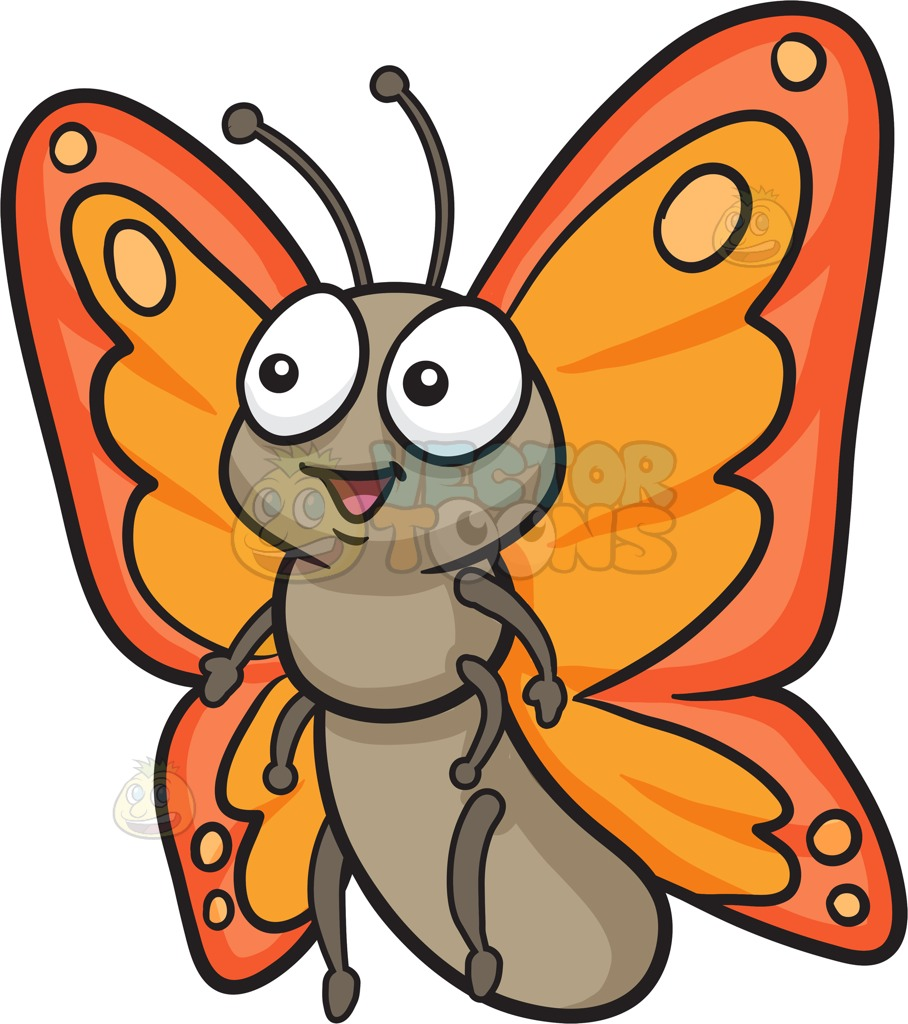 908x1024 A Cute Butterfly With Two Tone Orange Wings Cartoon Clipart