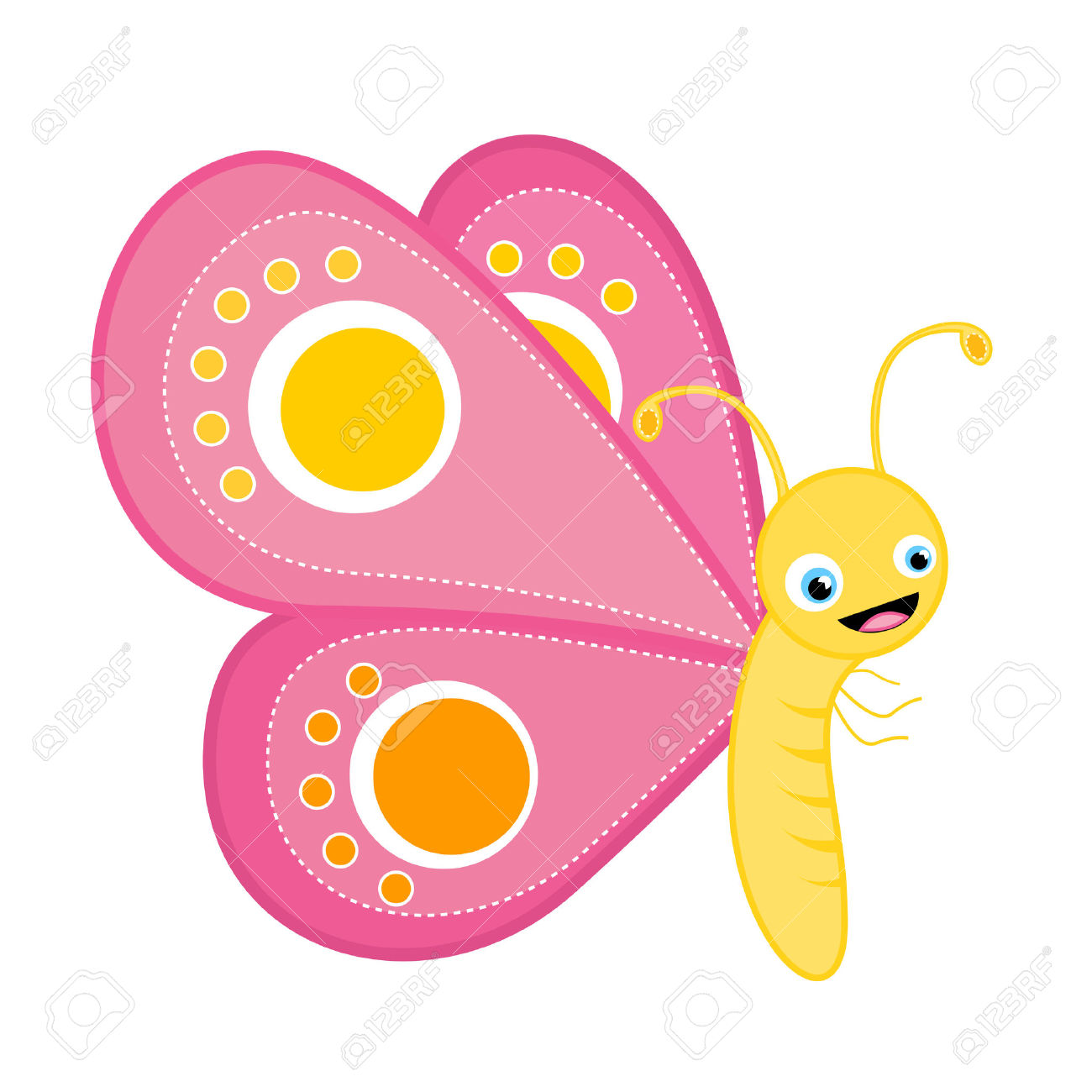 1300x1300 Insect Clipart Cute Pink Butterfly