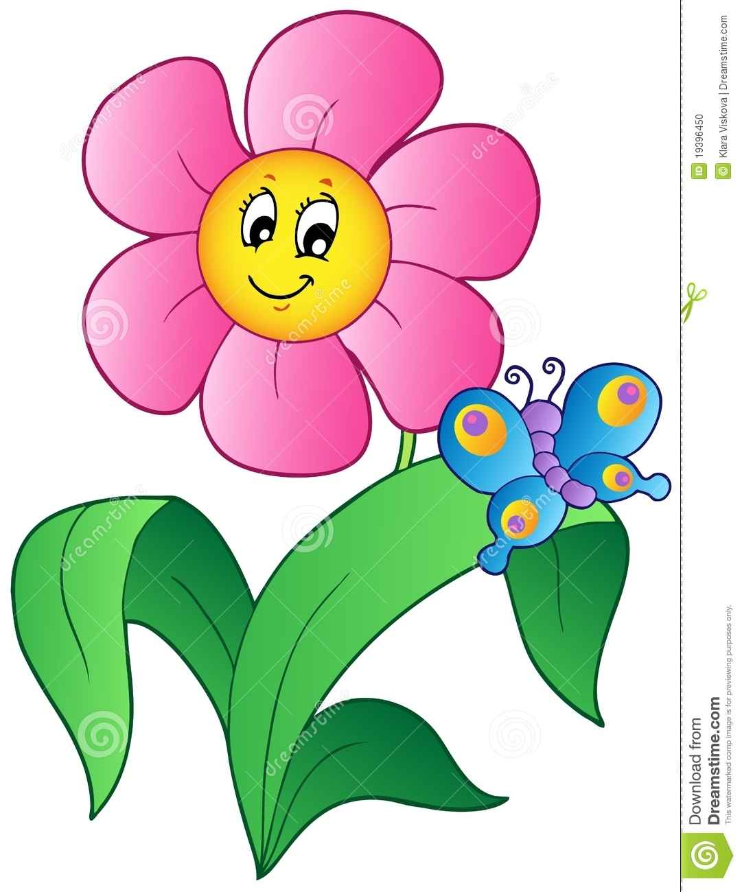 1081x1300 More Similar Stock Images Of ` Cartoon Flower With Butterfly