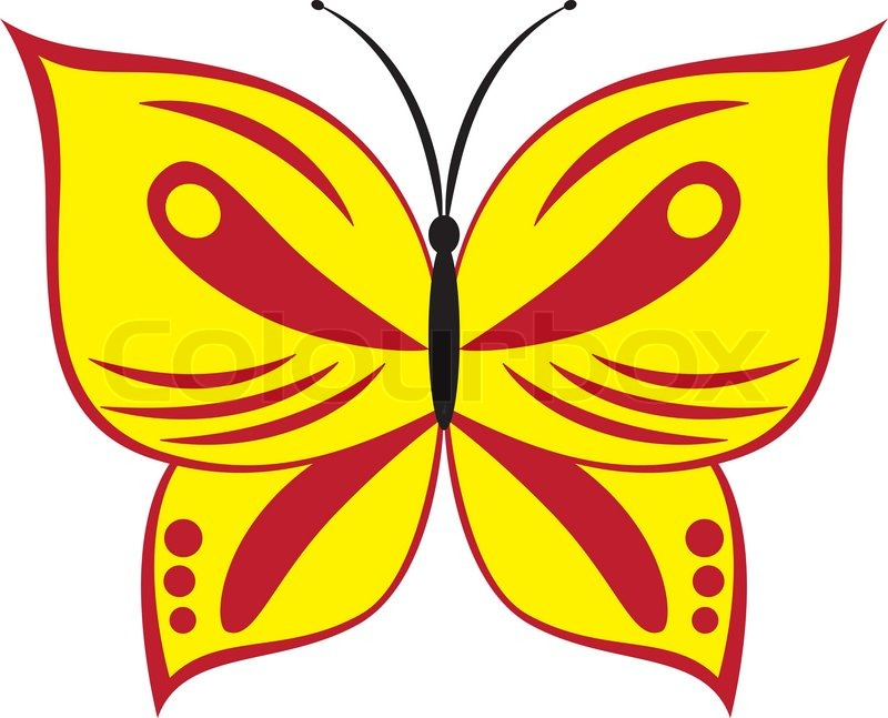 800x647 Vector Illustration Of Cartoon Red And Yellow Butterfly Stock