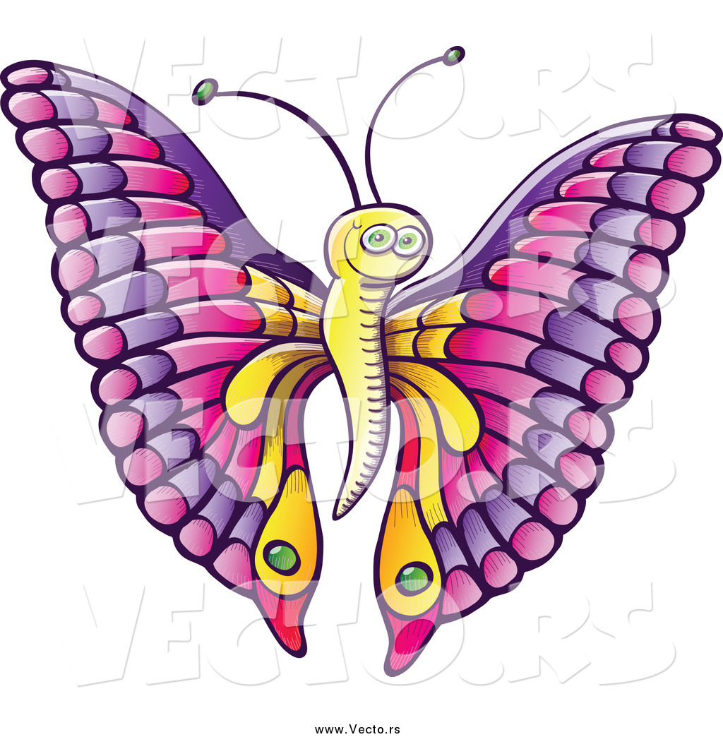 1024x1044 Vector Of A Happy Cartoon Butterfly With Pink Purple Wings