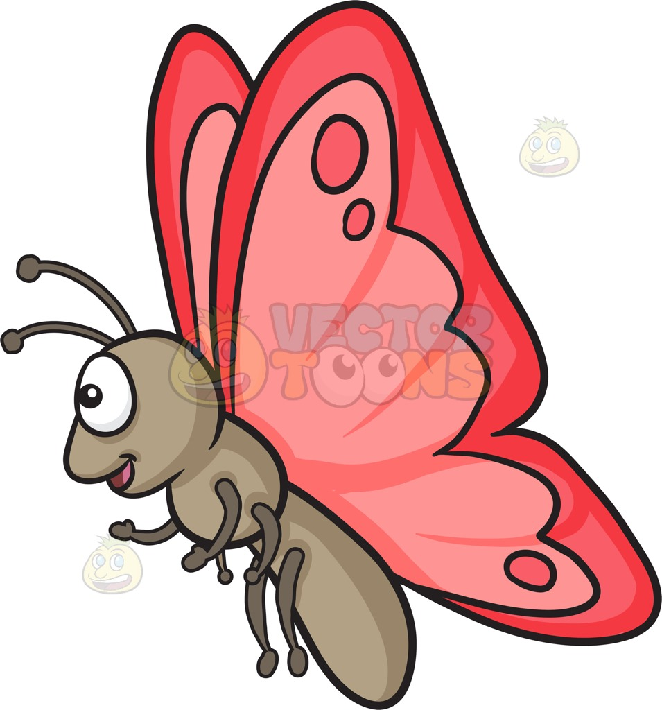 955x1024 A Happy Butterfly With Red Wings Cartoon Clipart