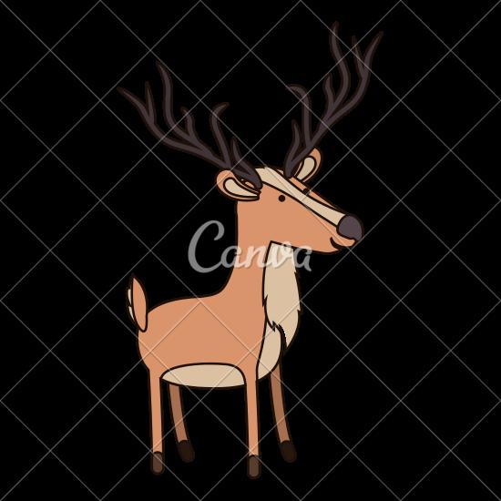 550x550 Deer Cartoon With Long Horns