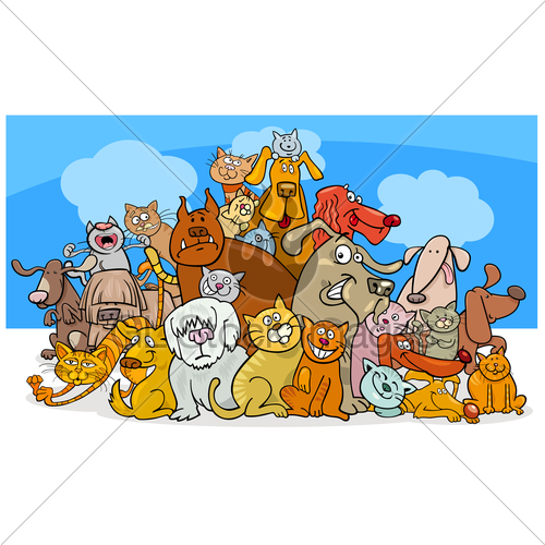 500x500 Cartoon Dog And Cats Characters Gl Stock Images