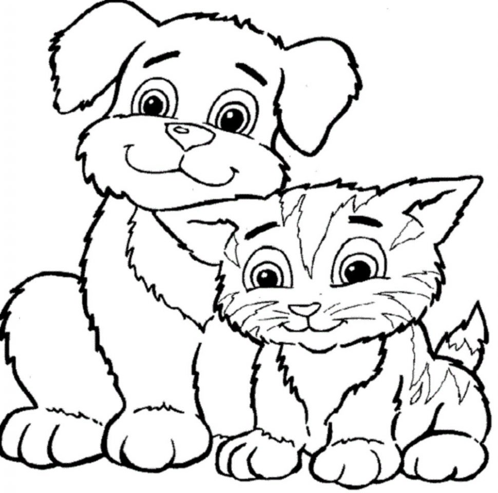 970x960 Coloring Pages Dogs And Cats Coloring Pages Magnificent Dog Cat