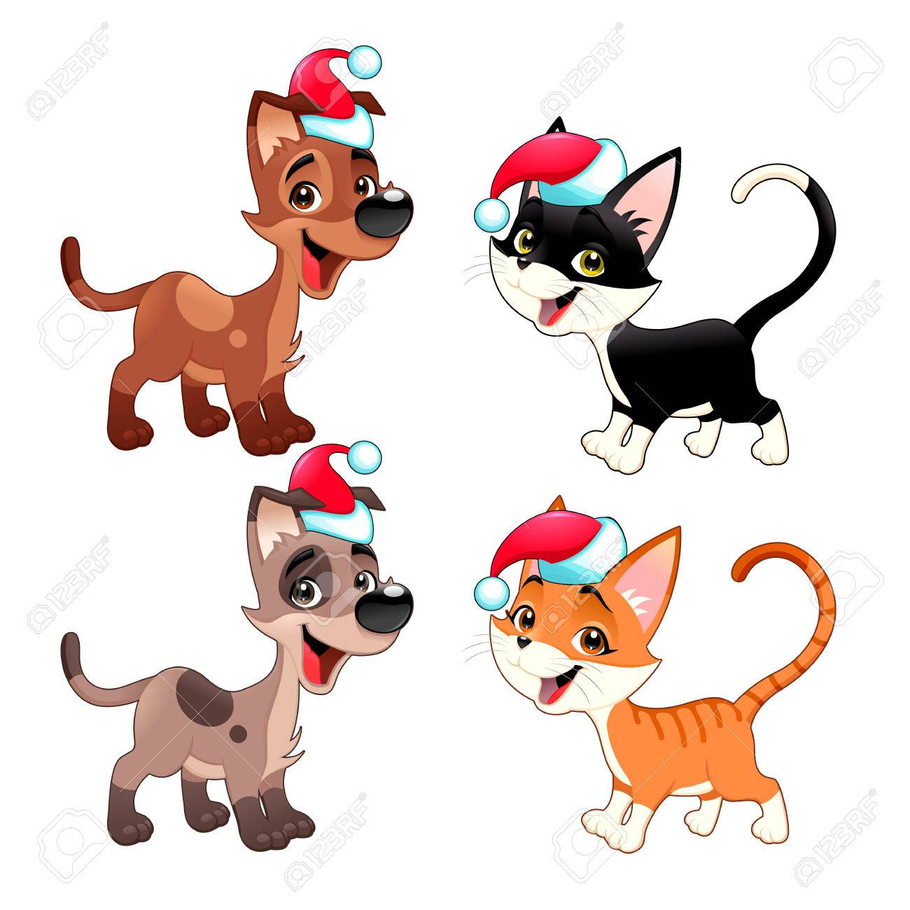 1300x1300 Funny Christmas Dogs And Cats. Vector Isolated Animals. Royalty