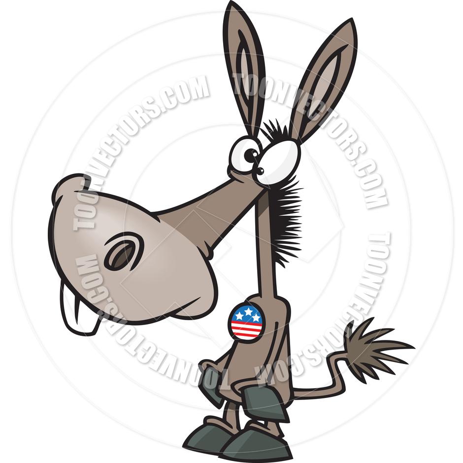 940x940 Cartoon Democrat Donkey Voter By Ron Leishman Toon Vectors Eps