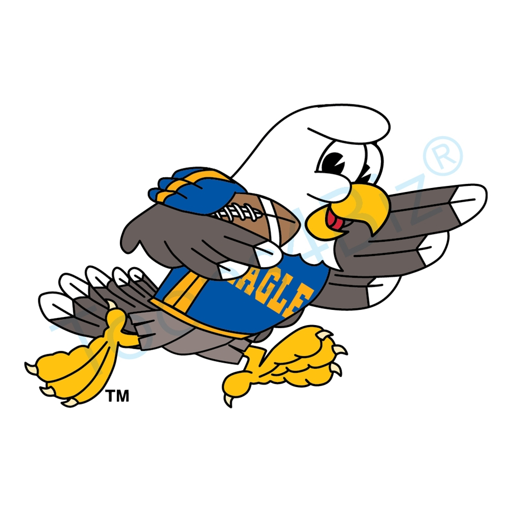 1000x1000 Bald Eagle Mascot Playing Football Clip Art