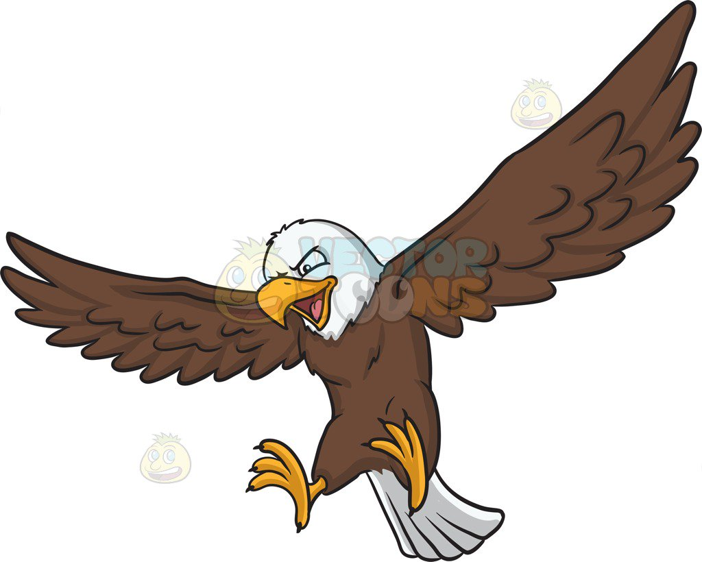 1024x820 An Eagle That Is About To Land Cartoon Clipart