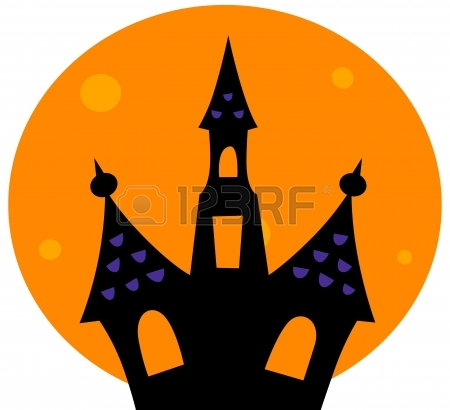 450x410 Haunted House Silhouette. Vector Cartoon Illustration Royalty Free