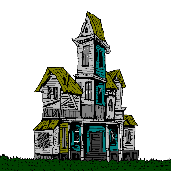 600x600 Free Cartoon Haunted House Clip Art
