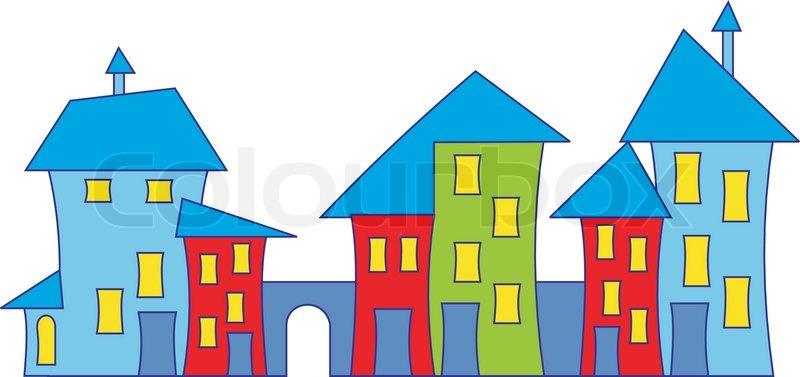 800x377 Cartoon Town House. Colorful Houses. Vector Stock Vector Colourbox