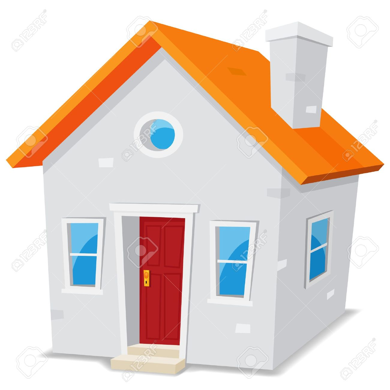 1300x1300 Illustration Of A Cartoon Simple Small House On White Background