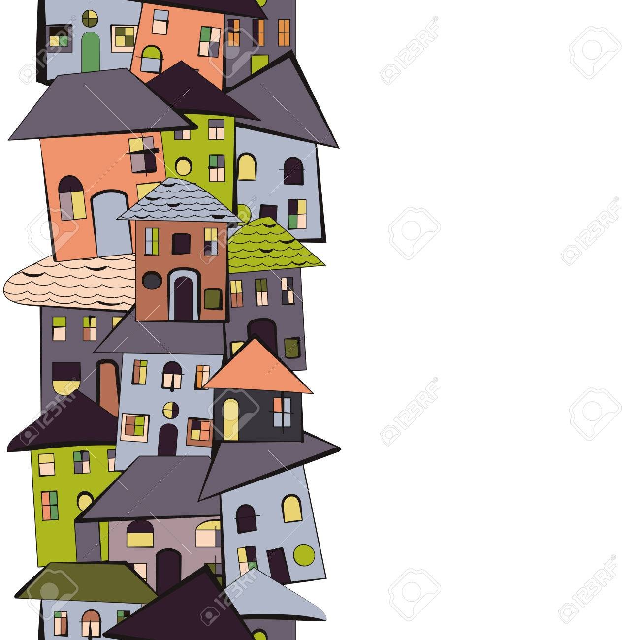 1300x1300 Primitive And Simple Naive Cartoon Houses With Roofs And Windows