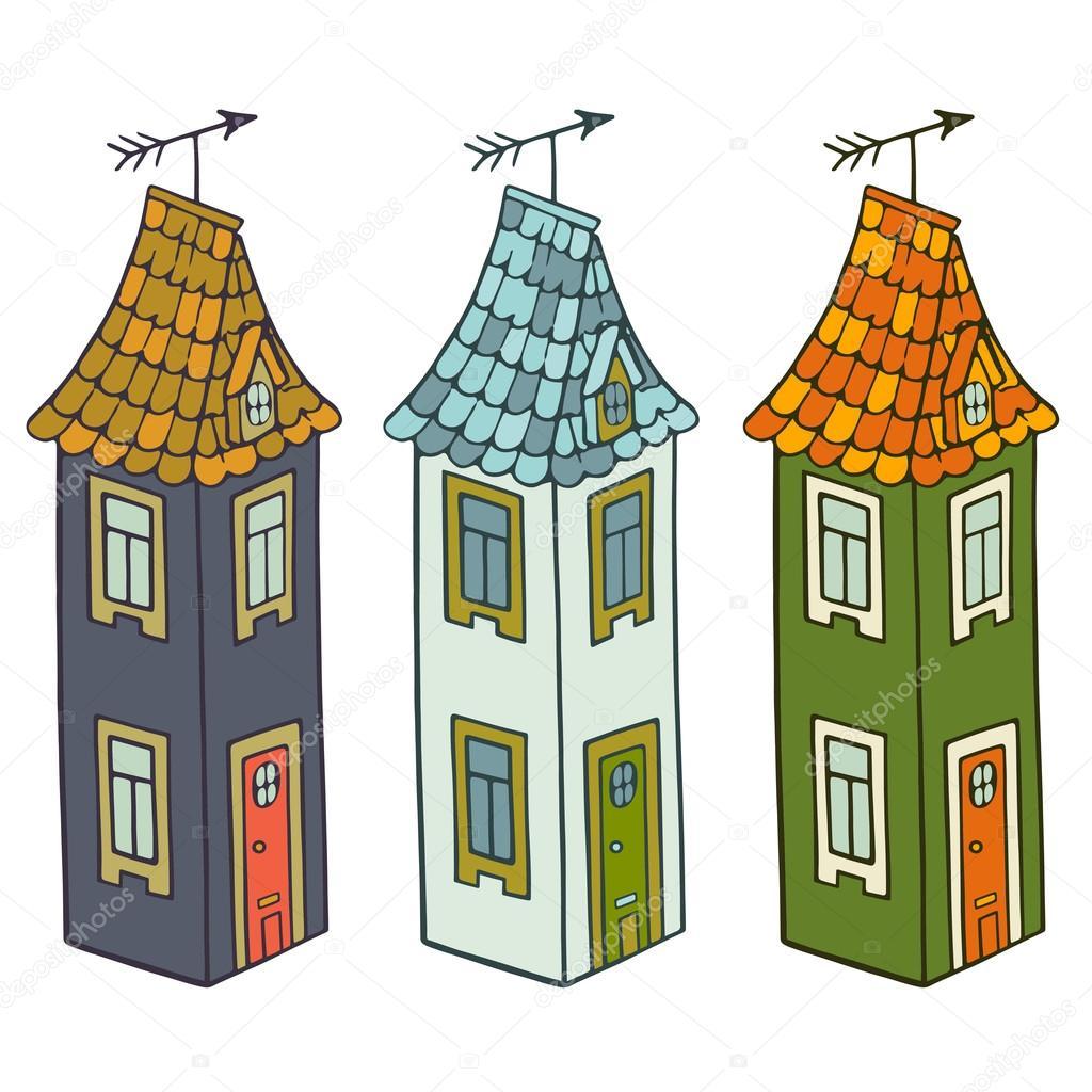 1024x1024 Three Cartoon Houses Stock Vector Tashanatasha