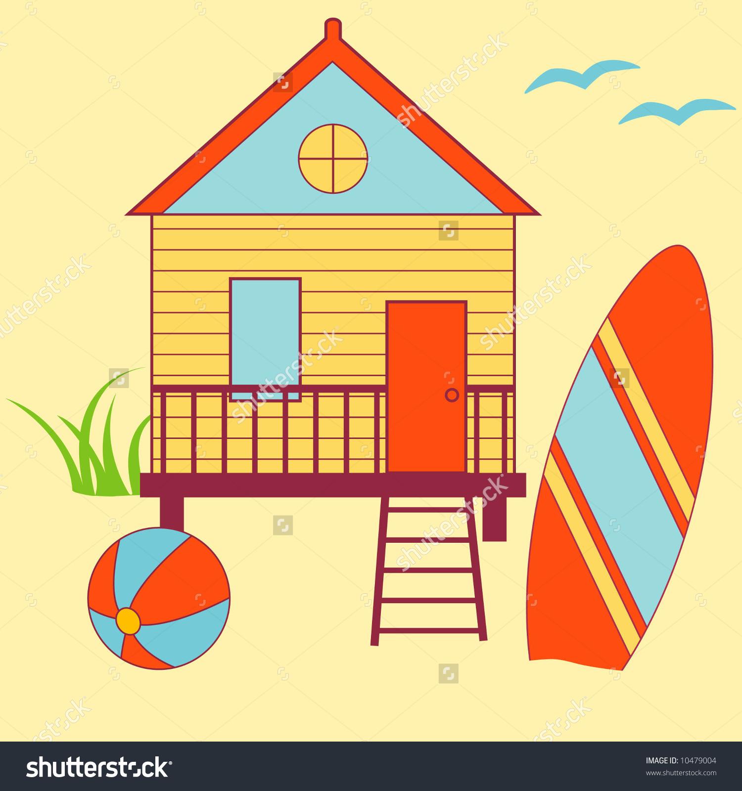 1500x1600 Beach House Clipart