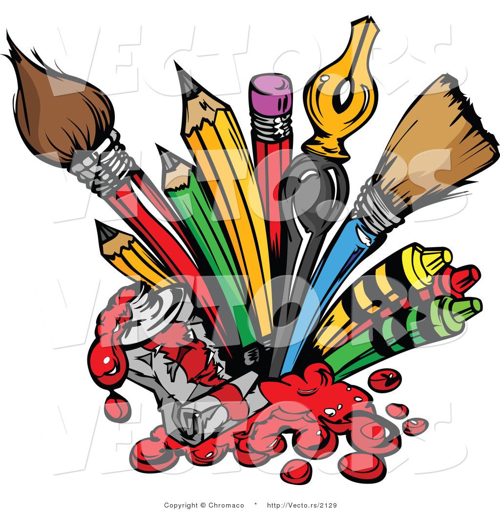 1024x1044 Cartoon Vector Of Art Supplies Pencils, Ink Pens, Paint Brushes