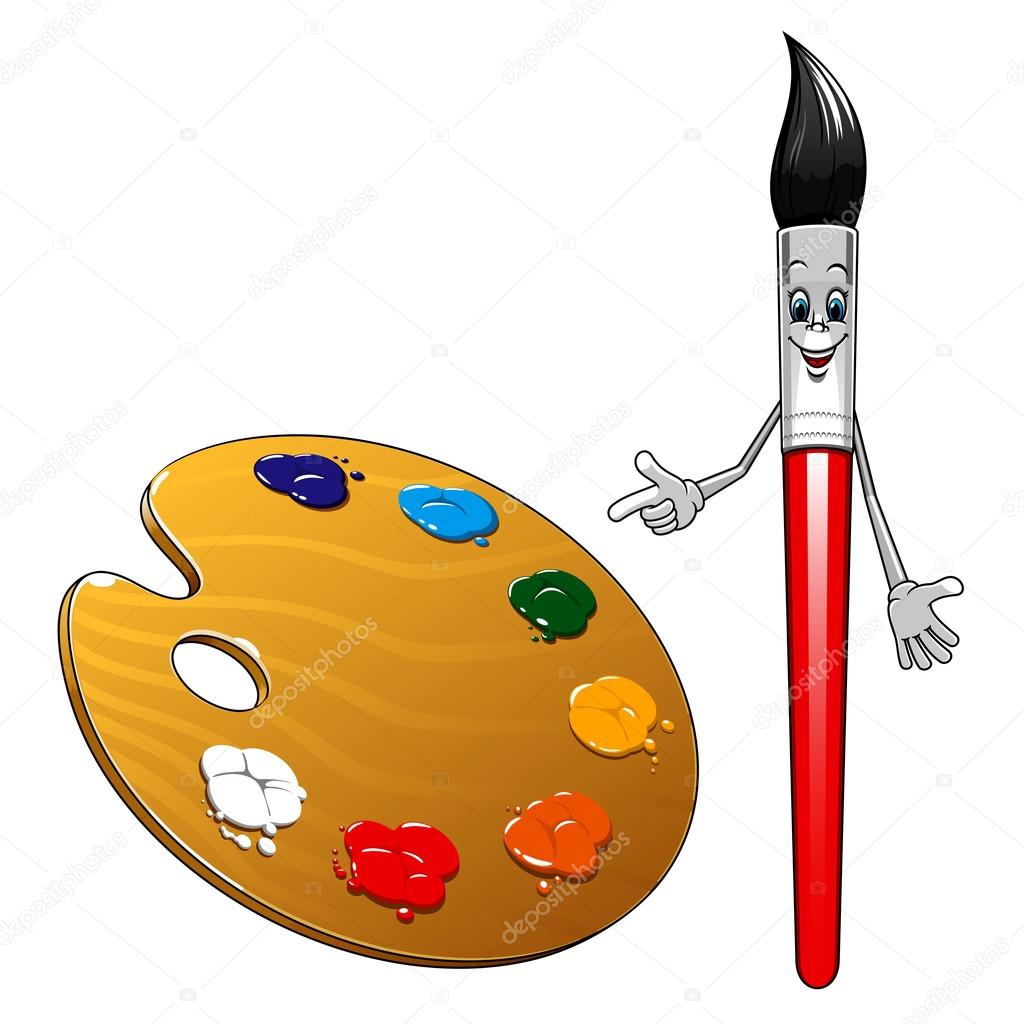 1024x1024 Cartoon Paintbrush Character With Art Palette Stock Vector