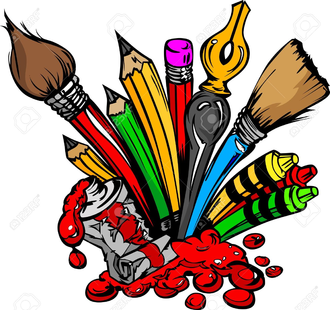 1300x1221 Art And Back To School Supplies Paint Brushes, Pencils, Oil