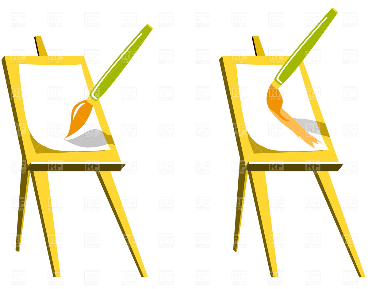 1200x941 Easel And Paintbrush Royalty Free Vector Clip Art Image