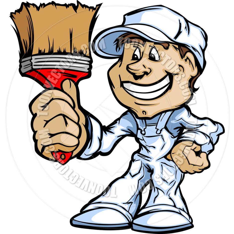 940x940 Happy Painter Contractor Standing With Paint Brush Cartoon Vector