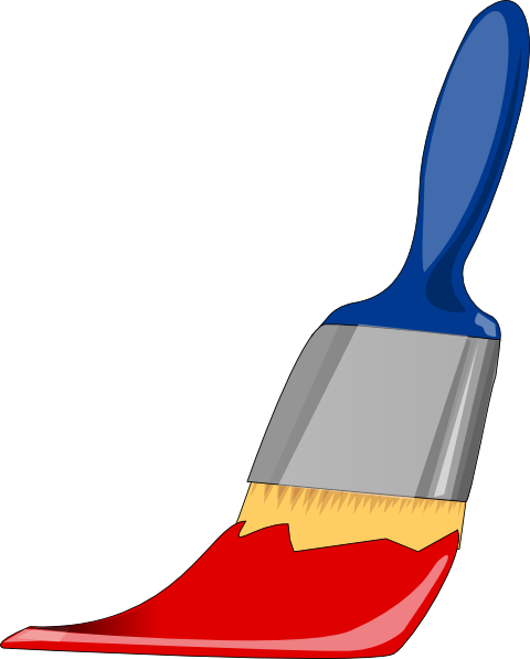 480x597 Paint Brush Blue And Red Clip Art