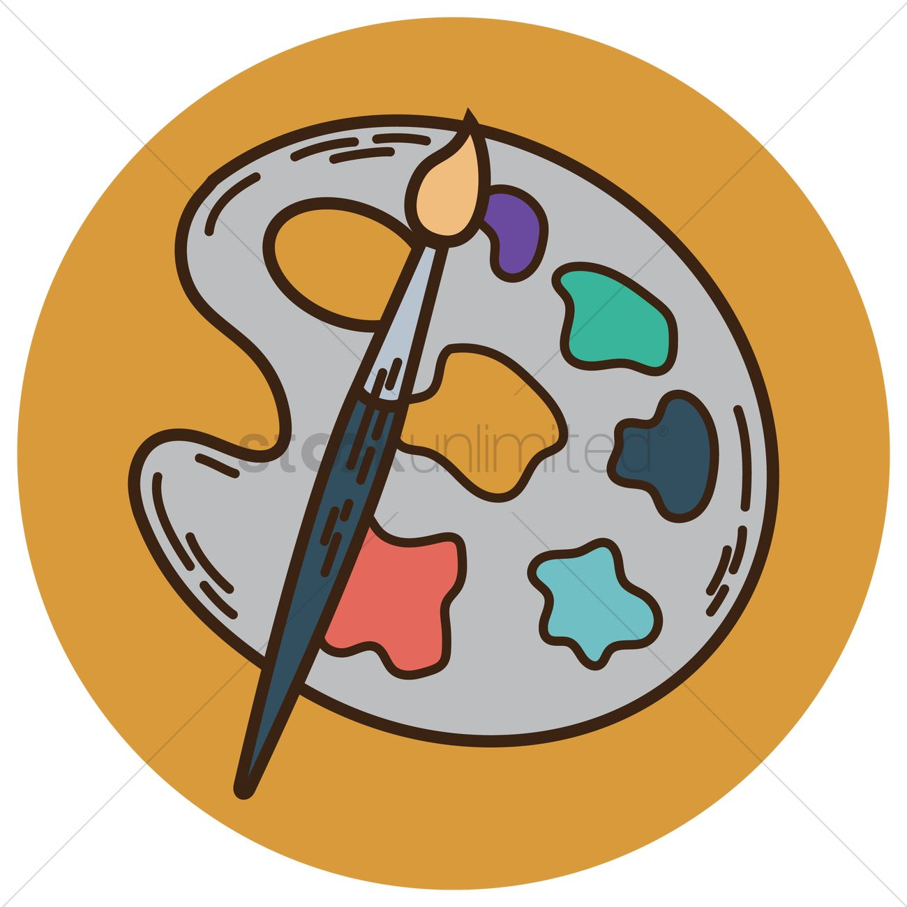 1300x1300 Paint Brush With Palette Vector Image