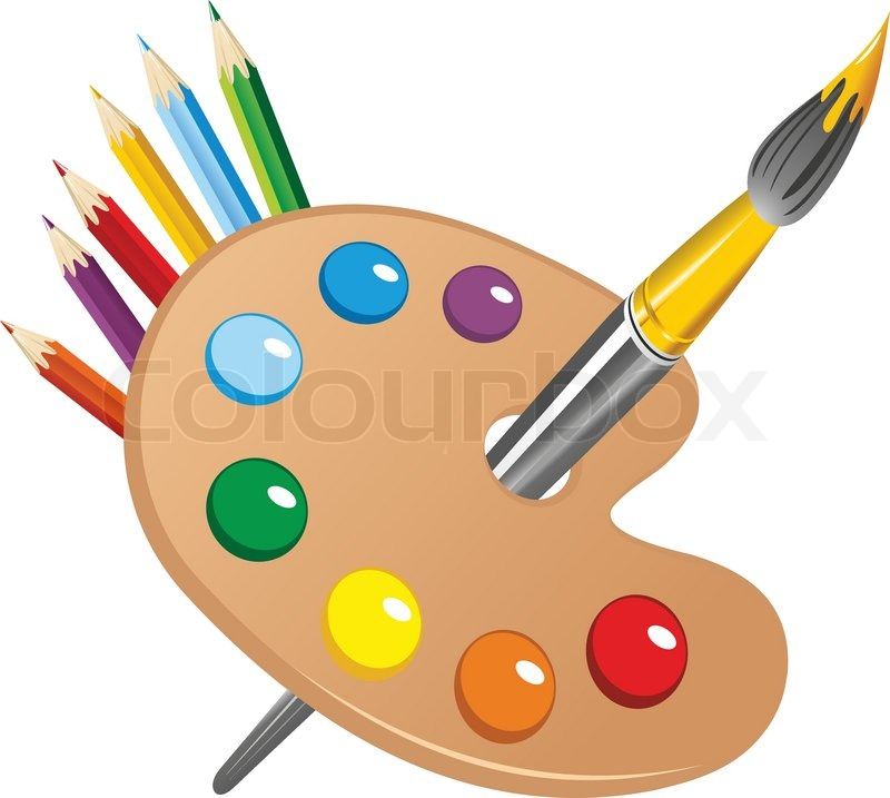 800x717 Art Palette With Paint Brush And Pencils Tools For Drawing Vector