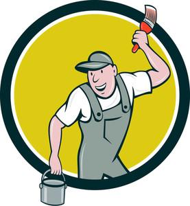 277x300 Painter Spray Paint Gun Side Circle Cartoon Royalty Free Stock