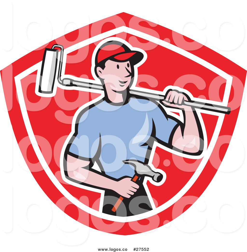 1024x1044 Royalty Free Vector Logo Of Cartoon White Male Handyman
