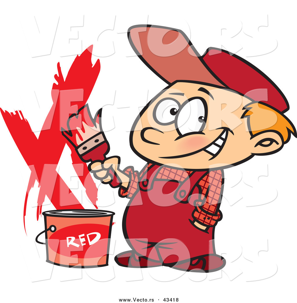 1024x1044 Vector Of A Happy Cartoon Painter Boy With A Bucket Of Red Paint