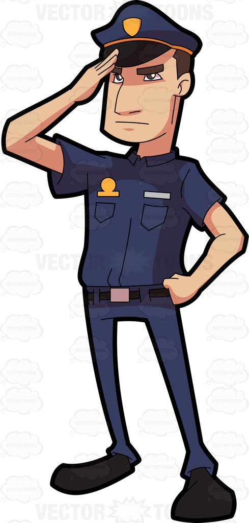 489x1024 A Police Officer Salutes In Respect Cartoon Clipart