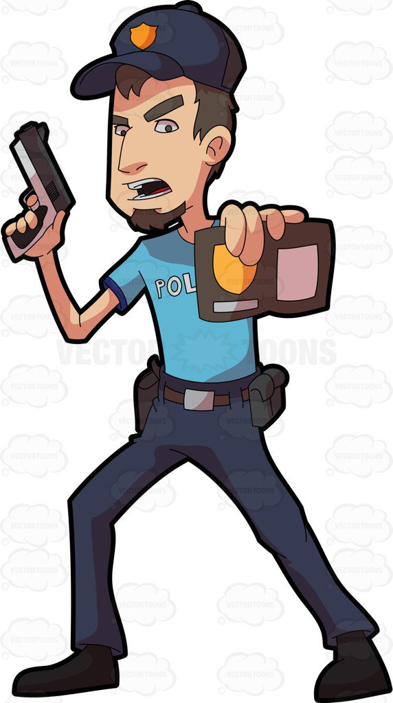 572x1024 A Policeman Showing His Badge Cartoon Clipart