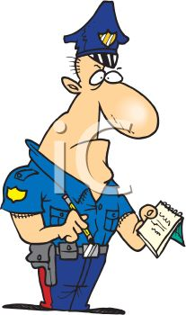 207x350 An Angry Looking Cartoon Police Officer Writing A Citation