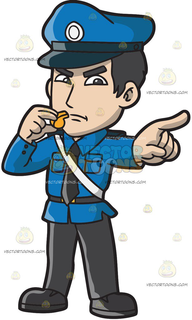615x1024 An Angry Police Officer With A Whistle Cartoon Clipart