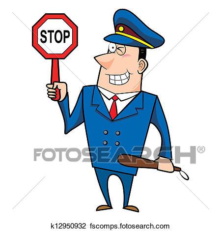 450x470 Clip Art Of African Traffic Police Officer K5152477