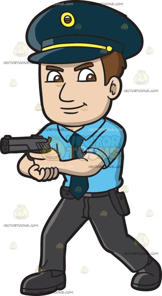 563x1024 A Hungarian Police Officer Cartoon Clipart